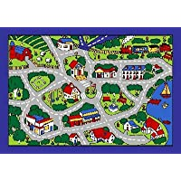 Kids Area Rug - Street Map Grey Design