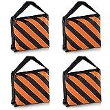 Neewer® Set of Four Black/Orange Heavy Duty Sand Bag Photography Studio Video Stage Film Sandbag Saddlebag for Light Stands Boom Arms Tripods