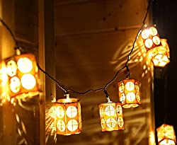 Deli 20 LED Wooden Lanterns Warm White String Lights with Power Plug for Christmas/Wedding/Party/Festival/Decor (5 meters)