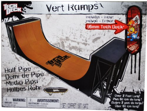 Tech Deck Finger Skateboard Ramp Set - VERT RAMPS HALF PIPE (Over 2 Ft. Long) with 96mm TechDeck Fingerboard