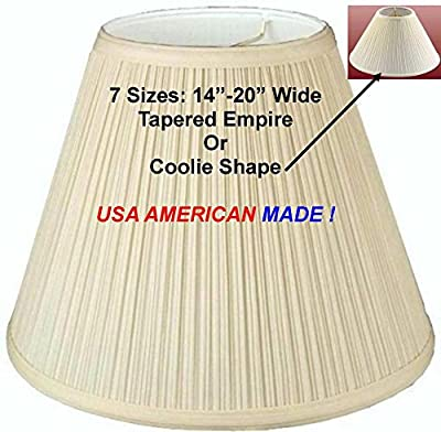 "Sizes 12-24"" Wide Mushroom Pleated Tapered EMPIRE CONE SHAPE Lamp Shade Cream Fabric Hardback Liner USA American Made"