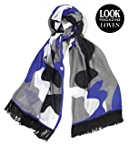 Viscose Cotton Cobalt Blue Camo scarf featured in Look Magazine