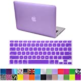 """HDE Matte Hard Shell Clip Snap-on Case + Matching Keyboard Skin for MacBook Air 13"""" - Fits Model A1369 / A1466 (Purple)"""