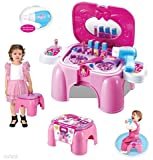 WolVol Compact carry-on Vanity Cosmetic Playset with Mirror & Working Hair Dryer, Folds into Stepstool (Pink)