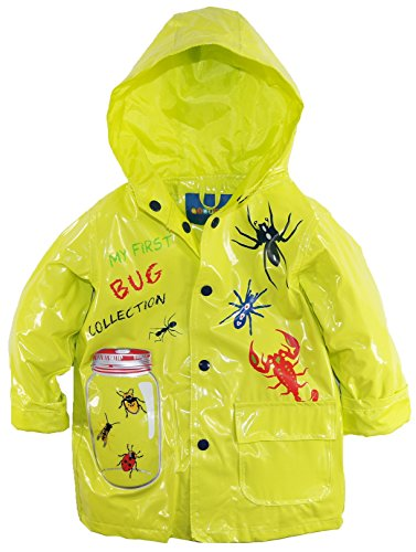 Wippette Little Boys' Waterproof Hooded Bug Collection Raincoat Jacket, Acid, 7