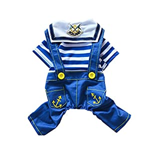 Acorn Pet Dog Cat Navy Suit Puppy T-shirt Cool Spring Summer Striped Pants Strap Clothes