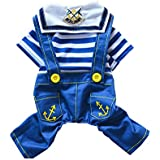 TUMAFAN Pet Dog Cat Navy Suit Puppy T-shirt Cool Spring Summer Striped Pants Clothes