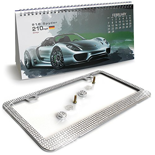 Crystal Clear Rhinestone Bling License Plate Frame with Bonus 2016 Calendar by Royal Hold. Includes Screw Set. Rustproof Stainless Steel, Coated in Chrome.