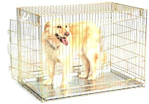 "General Cage Premium Folding 200 Series Pet Crate w plastic pan, 2 Door, 26.25"" W x 42"" D x 29.75"" H, Gold Finish at Sears.com"