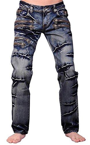 Jeansian Moda Pantaloni Casual Uomo Jeans Denim Sottile Uomini J007 (W38, J009_Blue)