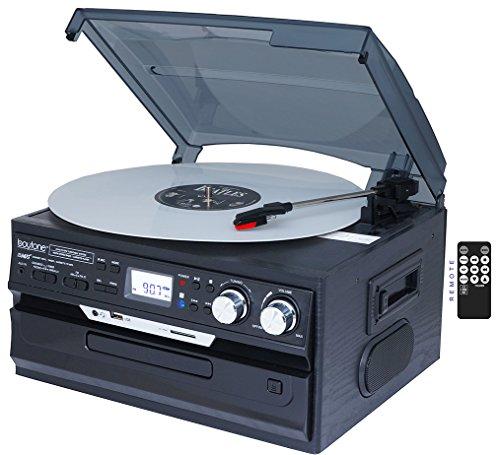 7-in-1-Boytone-BT-21DJB-C-3-Speed-Turntable-334578-Rpm-Belt-Drive-CD-Cassette-Player-AMFM-USBSD-Slot-Aux-Input-2-built-in-speaker-Encoding-Vinyl-Radio-Cassette-To-MP3