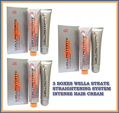 3 Boxes Wella Strate Straightener Straightening System Intense Hair Cream Made in Thailand