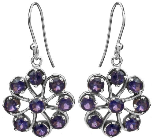 Sterling Chakra Earrings with Faceted Gems - Sterling Silver - Color Iolite