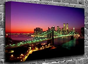 "The Brooklyn Bridge - Twin Towers Island At Night - New York City Canvas Art Canvas Print Print Picture Size: (16"" x 12"")"