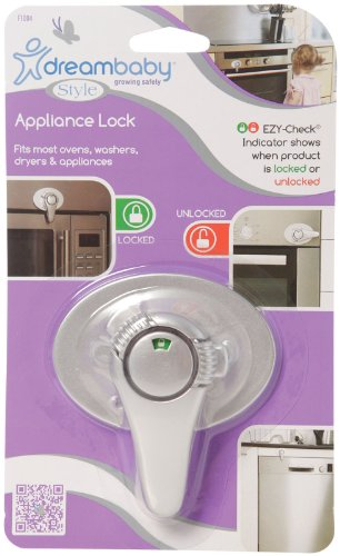 Dreambaby Swivel Appliance Lock W/ E-Z Indicator Single Pack- Silver