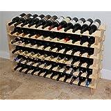 "Stackable 72 Bottles Modular Wine Storage Racks, 47"" Wide, Solid Pine Wood, WN84"