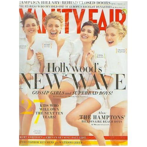 Blake Lively Kristen Stewart Emma Roberts. Amazon.com: Vanity Fair August 2008 Kristen Stewart. Blake Lively, Emma Roberts, Amanda Seyfried Hollywood#39;s New Wave