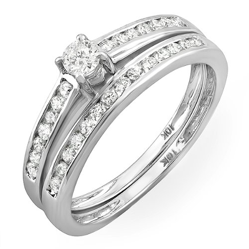 0.55 Carat (ctw) 10k White Gold Brilliant Round Diamond Ladies Bridal Ring Engagement Wedding Band Set