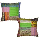 Home Decor Silk Patchwork & Kantha Work Pillow Cover 16 Inches 2 Pcs