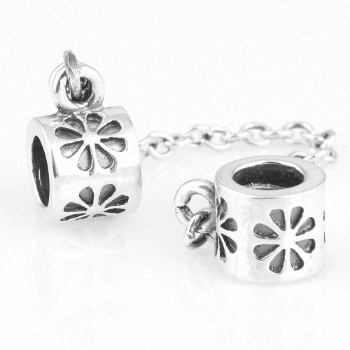 Taotaohas-(1Pc) Pure 100% Solid Sterling 925 Silver Chain Connection Safety Link Charm Beads, [ Name: Fondness, Color: Pure ], Fit European Bracelets Necklaces Chains, Troll, Biagi Glass Charm Beads