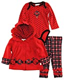 Duck Goose Baby Girls Hearts Landybug Terry Jacket Bodysuit 3Pc Pant Set, Red, 0-3 Months