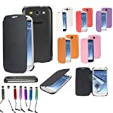 SAVFY Hard Flip Case Cover For Samsung Galaxy S3 SIII I9300 I9305 16GB 32GB, With Free Screen Protector and Mini Styli Touch Pen (Galaxy S3, Black)