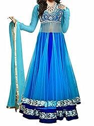 Shree Balaji Women's Embroidered Soft Net Lehenga Choli(mfgn_1051_Sky Lehengha_Free Size)