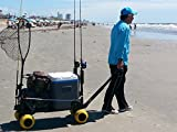 Surf Fishing Cart Wagon with Wheels For Sand Fish Poles Rod Holder Saltwater Gear