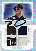 AUTOGRAPHED Jimmie Johnson 2014 Press Pass Total Memorabilia HOLOFOIL QUAD RELIC (Firesuit - Sheetmetal - Gloves - Hat) Rare Insert Signed NASCAR Trading Card with COA (#08 of 25)