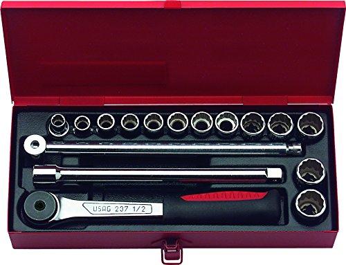 USAG 603 N 1/2 06032015 Assortimento in Cassetta di Lamiera con Bussole Poligonali, 16 Pezzi