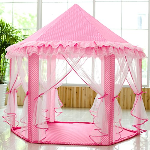 SkyeyArc Princess Playhouse With Lace Kids Play Tent Pink Play Castle Play Doll House Great Christmas Gifts for Kids Christmas decorations Pink. & SkyeyArc Princess Playhouse With Lace Kids Play Tent Pink Play ...