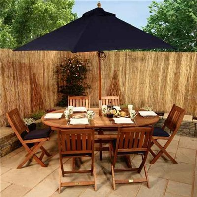 BillyOh Elegance 1.8m Oval Ext 6 Seat Wooden Garden Furniture Set with Navy Blue Seat Pads  &  Parasol