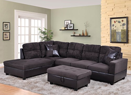 Delco Chocolate 3-Piece Microfiber & Faux Leather Sectional Sofa Set with Free Storage Ottoman