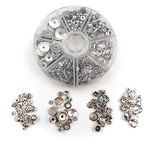 ALL in ONE Mixed Antique Silver Tibetan Style Beads/flower Cup Beads/spacer Beads Charms Jewelry Findings (Assorted Box)