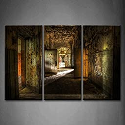 Modern Home Decoration painting 3 Panel Wall Art Abandoned Hallway Many Doors Ruins The Picture Print On Canvas Architecture Pictures piece