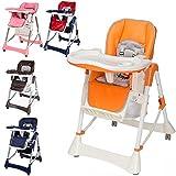 TecTake Confort Chaise Haute de Bébé Pliable – diverses couleurs au choix (Orange)
