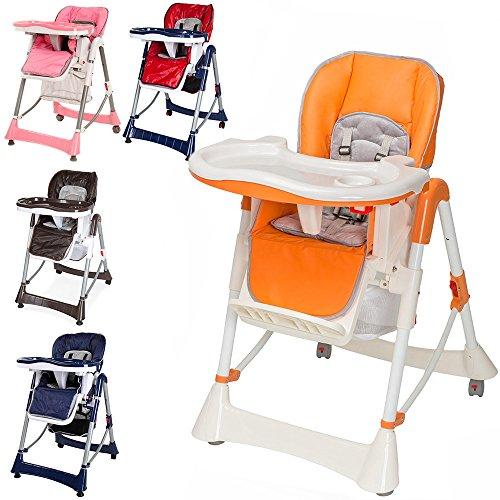 TecTake Confort Chaise Haute de Bébé Pliable – diverses couleurs au choix (Orange) pas cher