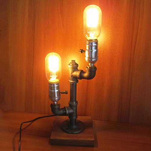Vintage Industrial Retro Iron Pipe Desk Table Lamp Two Edison Light Bulb UK Plug Modern (Opi Nail Polish Vintage compare prices)