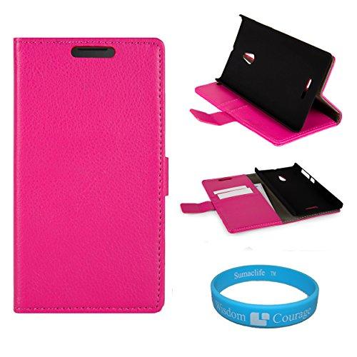 Pink Leather Wallet Portfolio Stand Case Cover For The Nokia Lumia Xl + Wristband