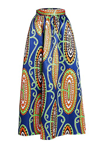 Sisiyer-Womens-Colorful-African-Print-Ankara-Long-Ruched-Maxi-Skirt