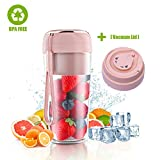Portable Blender for shakes and smoothies with Vacuum Lid, Mini USB Rechargeable Portable Juicer Blender, Cordless Handheld Small Mini Single Serve Blender (pink)