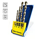 S&R Hammer Drill Bit Set (SUPERSCHLAG) for concrete, masonry, stone in Plastic Box Pack,(4 pieces), 5 x 85 / 6 x 100 / 8 / 10 x 120 x 120 mm../ MADE IN GERMANY/
