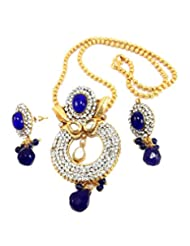Aria Party Wear Sapphire Blue CZ Gold Plated Pendant Earring Necklace Set Pt1