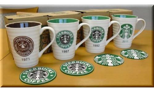 海外限定品【Starbucksスターバックスマグカップ】4世代ロゴ!完全4個フルセット!【日本未発売】