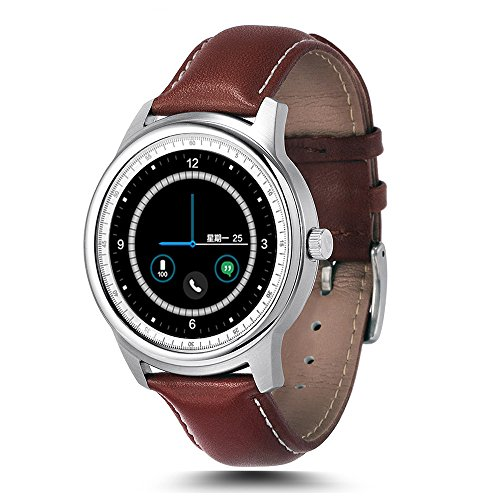 LEMFO LEM1 - Montre connectée - Bluetooth, Waterproof, Sport, iOS/Android - couleur Marron/Argenté