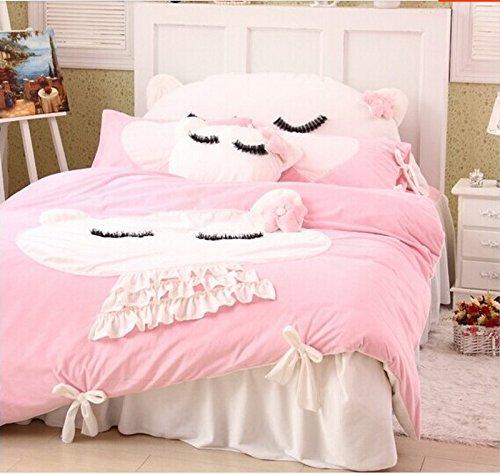 Cute Kitty Pink Duvet Cover Set Princess Bedding Girls Bedding Women Bedding Gift Idea, Twin Size