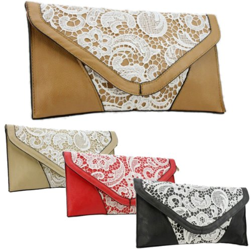 Girly HandBags New Lace Ladies Clutch Bag Vintage Leather Envelope Flat Small Summer Wedding