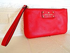 Kate Spade Zippered Chrissy Berkshire Road Leather Poppy Red Wristlet by Kate Spade