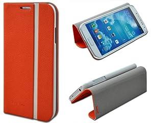 Shenit Samsung Galaxy S4 i9500 Slim Smart Leather Case Flip Cover Folio with Stand - Orange