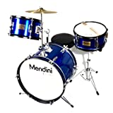 Mendini MJDS-3-BL 16-inch 3-Piece Blue Junior Drum Set with Cymbals, Drumsticks and Adjustable Throne